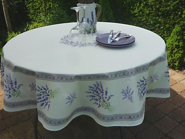 Savoir-Vivre – Lavendel! – Edle Baumwoll-Tischdecke in Ecru