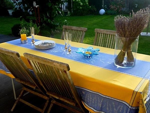 Sommertraum in blau-gelb Jacquard-Tischdecke Valette jaune bleu 3