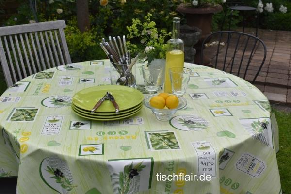 Kombination mit Oliven! – Abwaschbare Tischdecke in zartem Grün mit Oliven