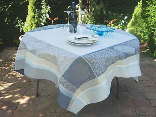 Tischdecke Provence 150x150 cm Jacquard Aix gris bleu aus Frankreich