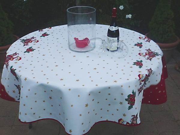 Oh, du fröhliche Weihnachtszeit! Pflegeleichte Weihnachts-Tischdecke in Weiß und Rot