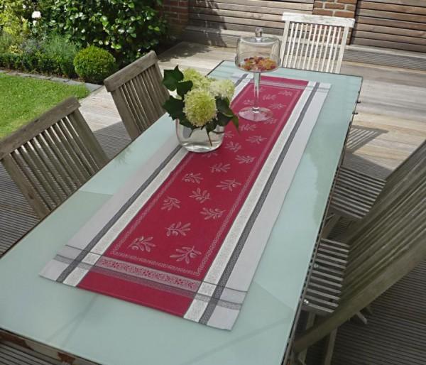Tischläufer Jacquard Baumwolle rot 50x160 cm Cannes rouge aus Frankreich Provence mit Teflonschutz