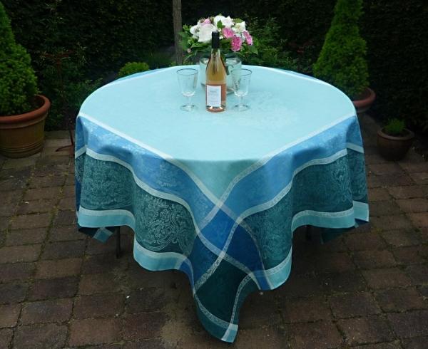 Tischdecke Jacquard Leinen 180x180 cm Medaillon bleu mit Hohlsaum