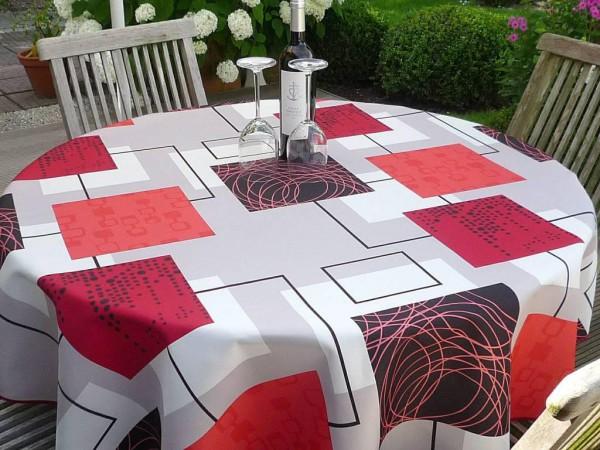 Tischdecke Provence 160 cm rund rot beige Karomotiv aus Frankreich