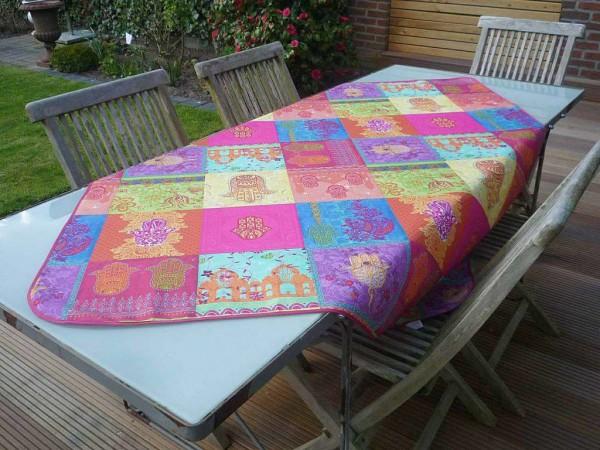 Tischdecke Provence 130x150 cm pink türkis Ornamentmotiv aus Frankreich bügelfrei
