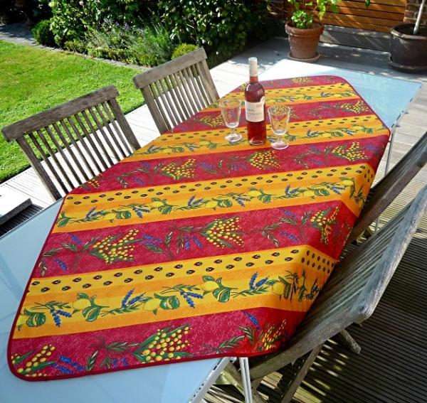Provenzalisches Flair! – Strahlende Tischdecke in Rot-Gelb mit herrlichen Zitronen und Mimosen