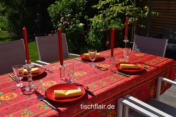 Leuchtende Sommerboten! – Fleckabweisende Tischdecke in Rot mit mediterranen Sonnenblumen