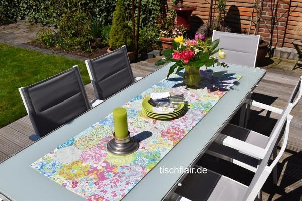 Prächtiges Pastell! – Frischer Baumwoll-Tischläufer Adrienne mit viel Farbe