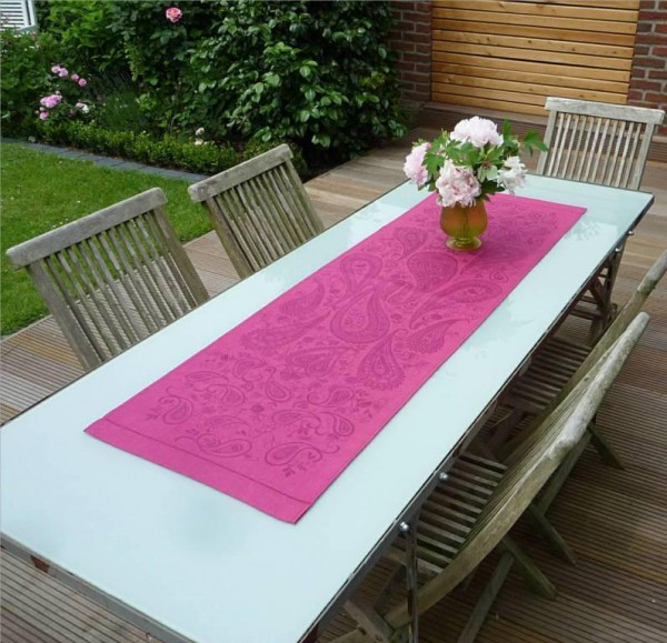 Tischläufer Jacquard Leinen 50x150 cm Paisley prune mit Hohlsaum