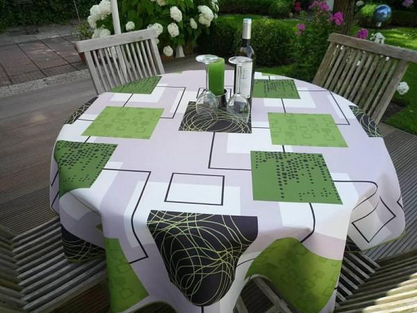 Gekonnt kombiniert – Tischdecke grün-grau-schwarz-weiß
