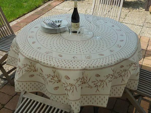 Klassiker der Provence…Tischdecke in Cremeweiß und Beige mit charmanten Zikaden