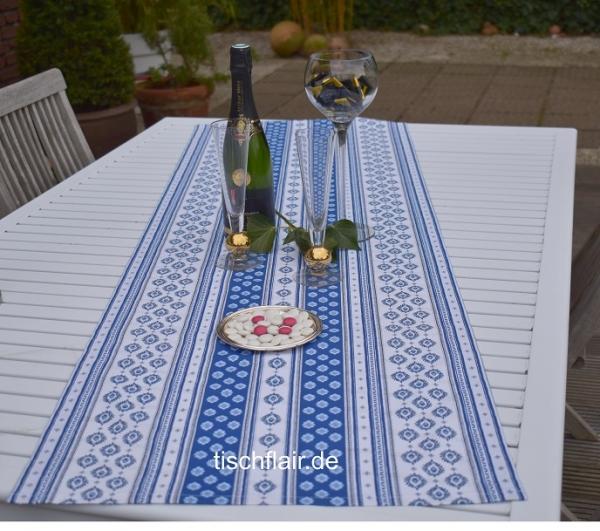 Frische Brise in Blau und Weiß – Provenzalischer Tischläufer Baumwolle Limeux