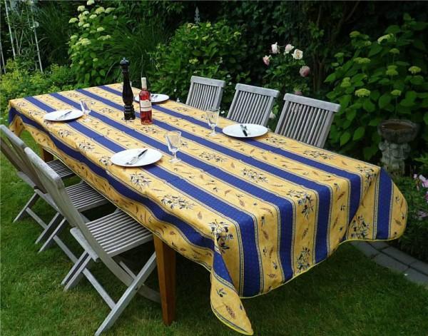Tischdecke Provence 150x350 cm blau gelb Olivenmotiv aus Frankreich