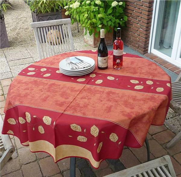 Tischdecke rund 160 cm rot Rankenmotiv aus Frankreich Provence bügelfrei