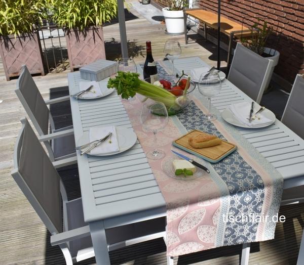 Gobelin-Tischläufer Nantilly in Rosé und Bleu