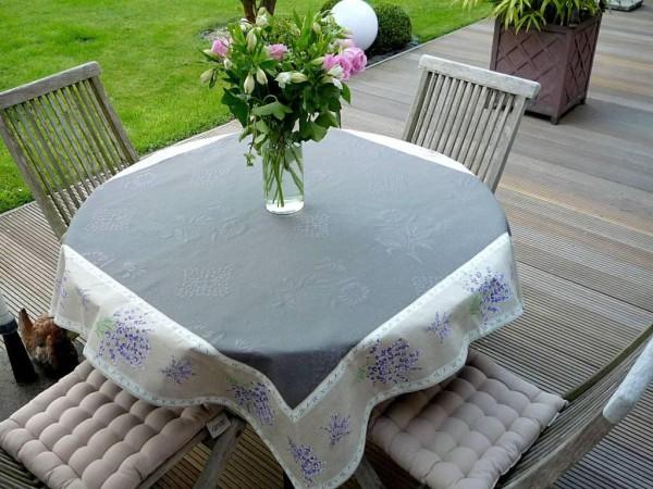 Tischdecke Jacquard grau DeLuxe 160x160 cm gris Lavande lin Matelassé aus Frankreich Provence