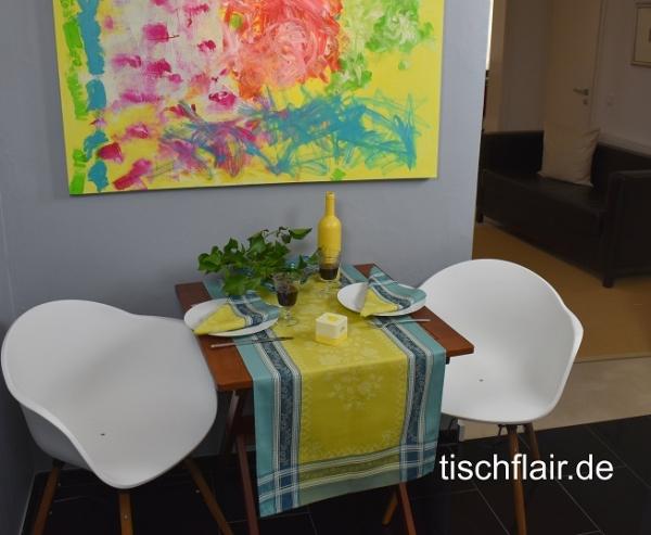 Mit spritzigen Grün- und Aquatönen... - Moderner Tischläufer Lagrange vert