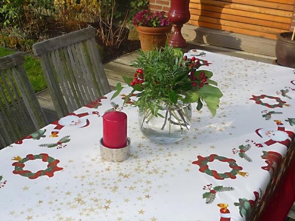 Tischdecke Provence 150x240 cm oval cremeweiß rot Weihnachten aus Frankreich