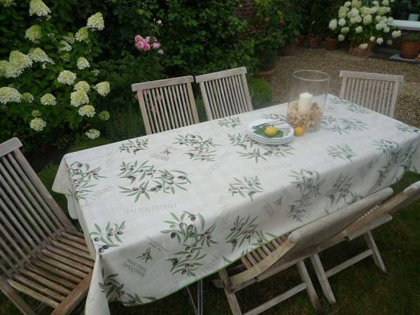 Tischdecke Provence 150x200 cm creme Olivenmotive aus Frankreich