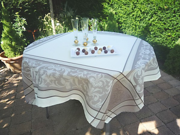 Tischdecke Jacquard creme 150x150 cm Renaissance aus Frankreich Provence