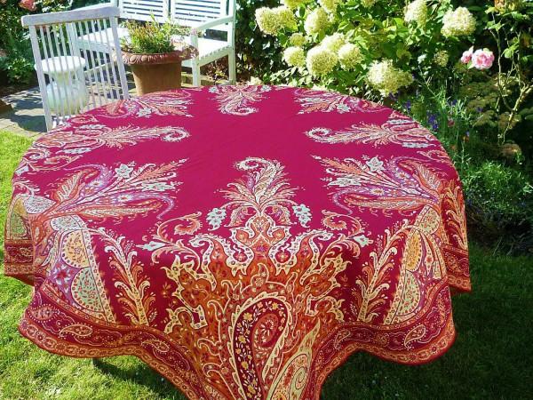 Tischdecke Provence 160x160 cm Baumwolle Jacquard Gobelin Paisley rouge terrakotta