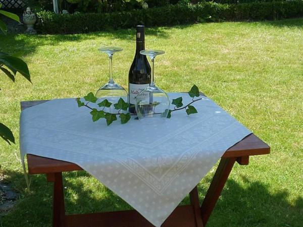 Tischdecke Provence 80x80 cm Baumwolle Jacquard Cigale hellgrau