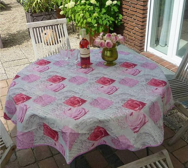 Tischdecke Provence 160 cm rund rosa Rosenmotive aus Frankreich