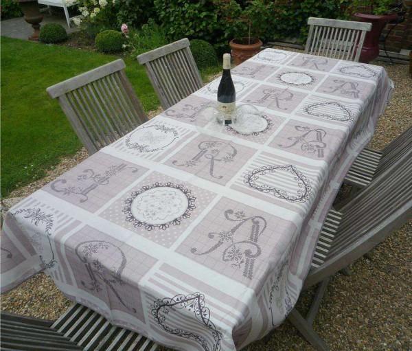 Tischdecke Provence 150x200 cm beige taupe Monogramme aus Frankreich