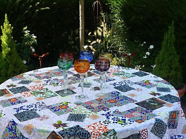 Tischdecke Provence 180 cm rund blau weiß grau Olivenmotive aus Frankreich
