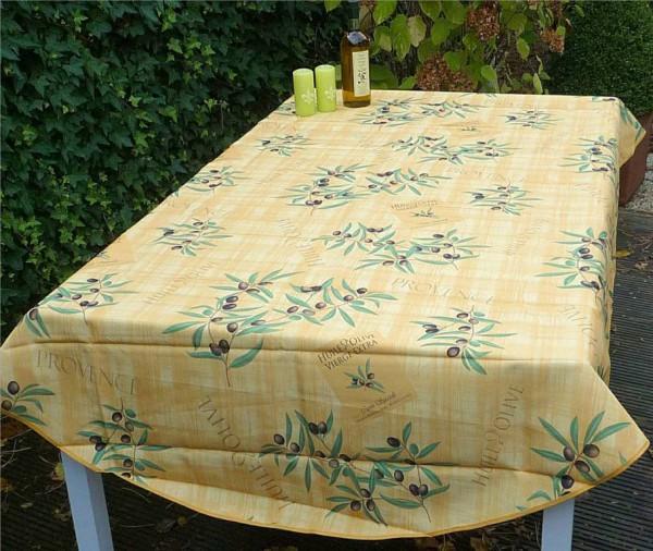Tischdecke Provence 150x240 cm oval gelb Olivenmotive aus Frankreich