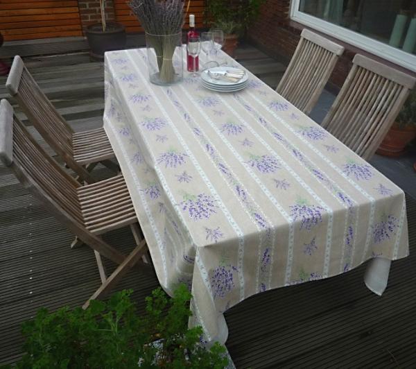 Tischdecke Baumwolle natur 160x250 cm Lavande lin aus Frankreich Provence