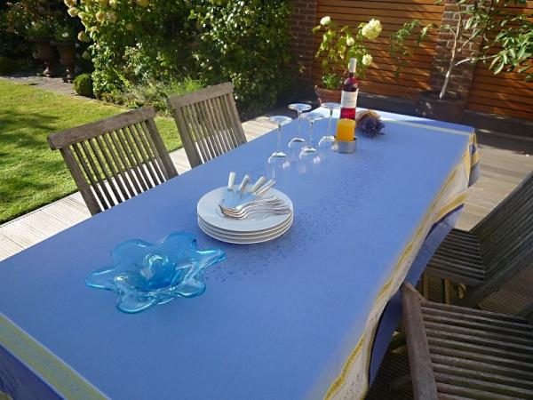 Tischdecke Provence 160x250 cm Baumwolle Jacquard Cannes bleu 1