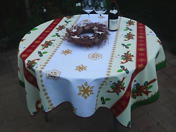 Tischdecke Provence 150x160 cm weiß gelb Weihnachten aus Frankreich