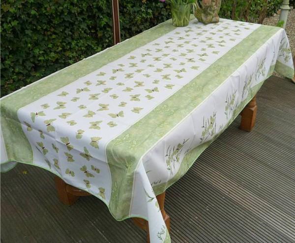 Tischdecke Provence 150x350 cm grün Schmetterlinge aus Frankreich
