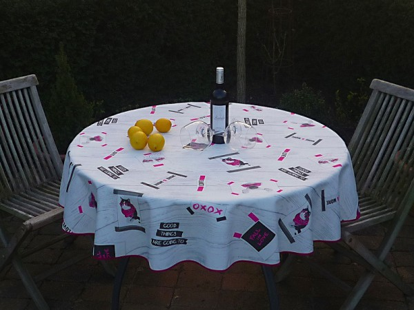Tischdecke Provence 160 cm rund hellgrau Katzen und Hunde aus Frankreich
