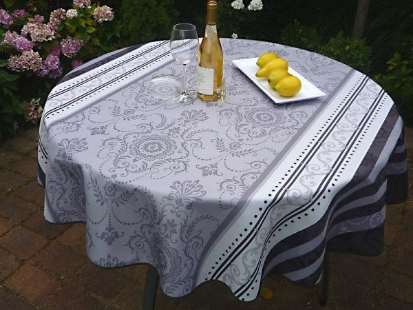 Nobel! – Elegante Tischdecke grau-weiß mit Ornamenten