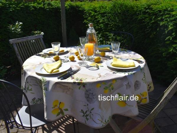 Perfektes Duo – Zitrone und Olive! Sommerliche pflegeleichte Tischdecke mit Zitronen und Oliven