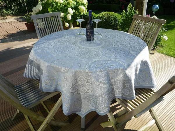 Tischdecke Jacquard Baumwolle blau 160x160 cm Cassis bleu aus Frankreich Provence mit Teflonschutz