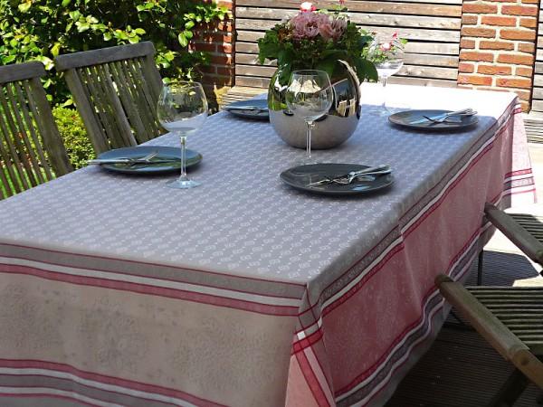 TISCHDECKE Provence 160x350 cm Baumwolle Jacquard Mercier gris rosé
