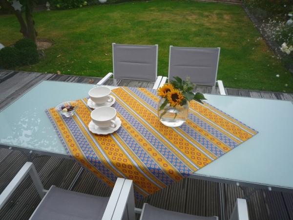 Möglichst mediterran, bitte! – Blau-Gelbe Baumwoll-Tischdecke Limeux