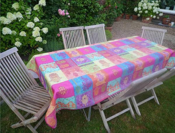 Tischdecke Provence 150x200 cm pink türkis Ornamentmotiv aus Frankreich