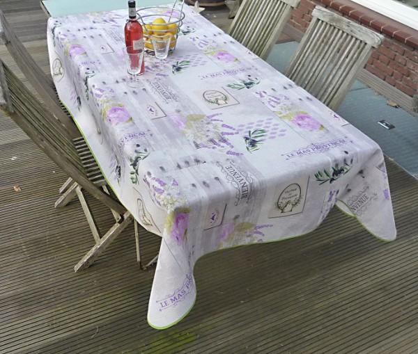 Tischdecke Provence 150x240 cm hellgrau Oliven Lavendel aus Frankreich