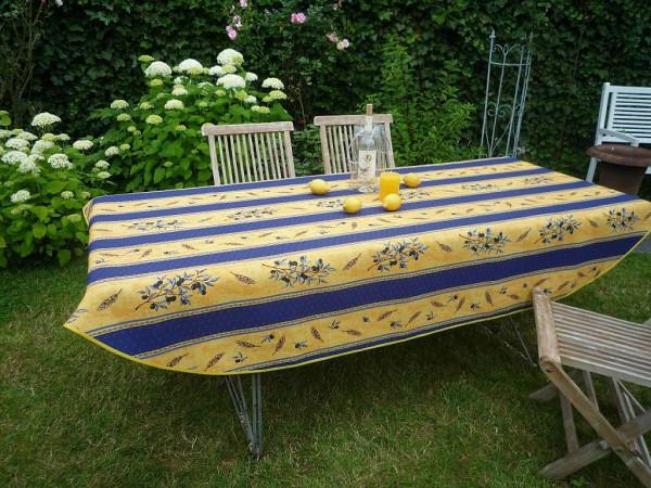 Tischdecke Provence 150x240 cm oval blau gelb Olivenmotiv aus Frankreich