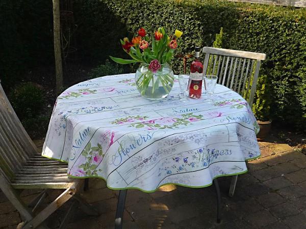 Tischdecke Provence 160 cm rund hellgrau Rosenmotive aus Frankreich