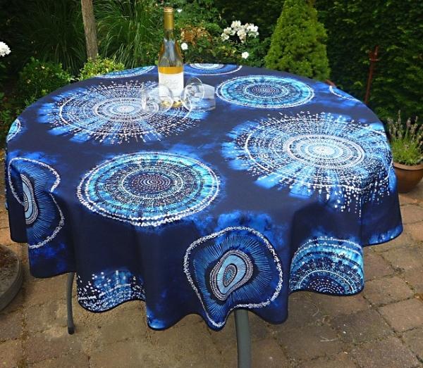 Tischdecke Provence 160 cm rund blau Kreismotive aus Frankreich