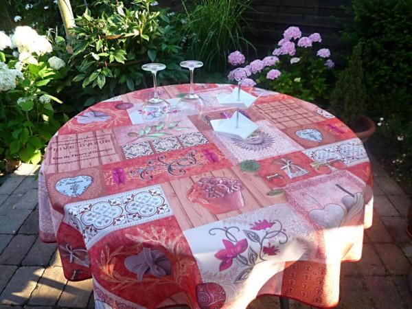 Tischdecke Provence 160 cm rund rot rosa Zikadenmotive aus Frankreich