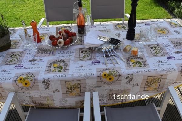 Leicht, wie der Sommer! – Pflegeleichte Tischdecke mit Lavendel, Zitronen, Oliven