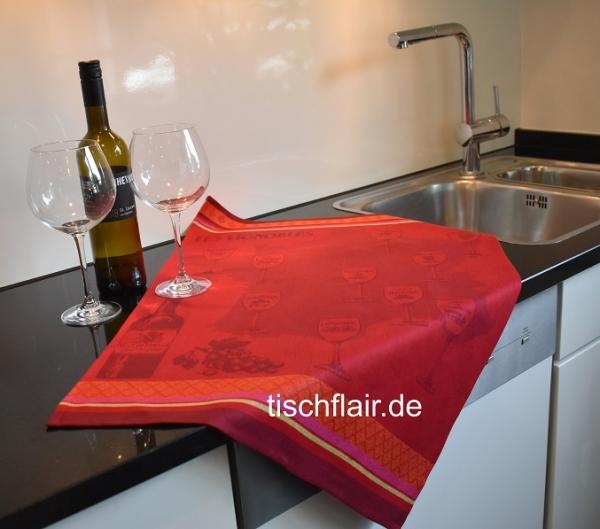 "Jacquard Geschirrtuch Baumwolle ""Vignoble rouge"" in bordeaux-rot"