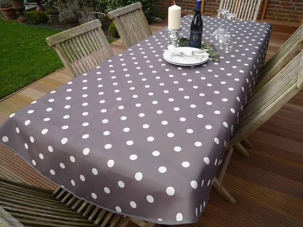 Tischdecke Provence 150x240 cm oval taupe Punkte weiß aus Frankreich