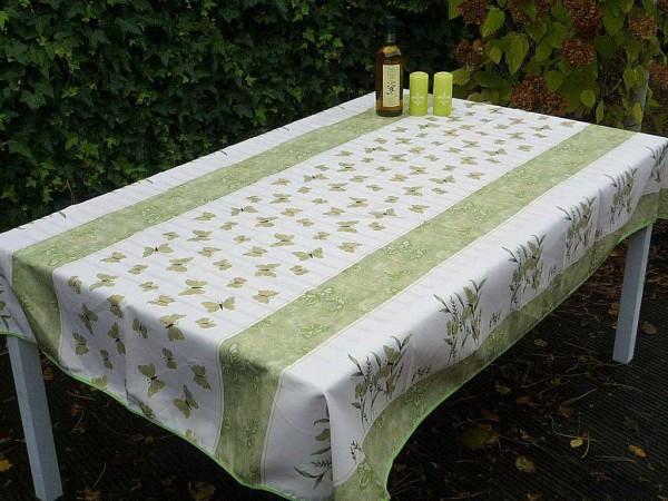 Tischdecke Provence 150x200 cm grün Schmetterlinge aus Frankreich